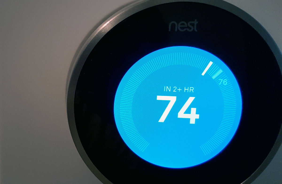 Nest thermostat set to cool 74 degrees