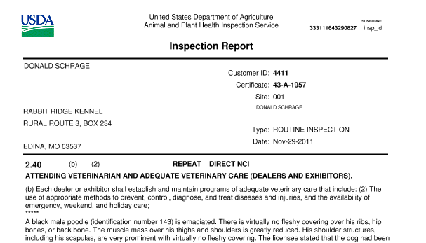 Top part of an inspection report