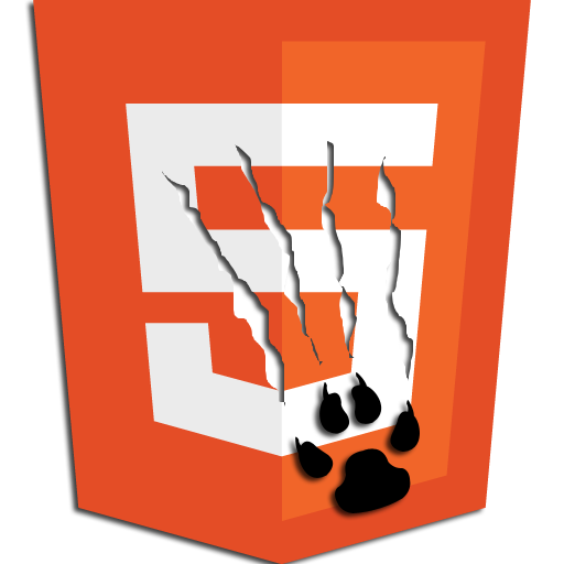 HTML5 logo with cat claw scratch